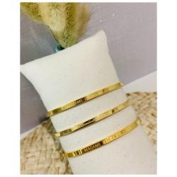 Bracelet Jonc doré avec message