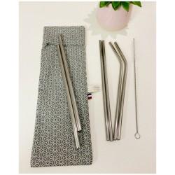 Pochette de pailles inox avec goupillon (gris)