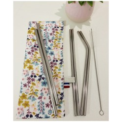 Pochette de pailles inox avec goupillon (fleurs)