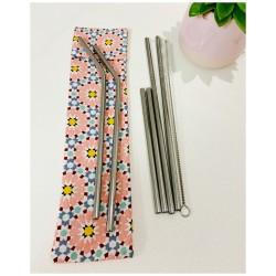 Pochette de pailles inox avec goupillon (géo rose)