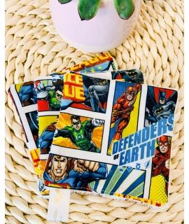 3 carrés lingettes Justice League