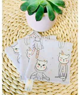 3 carrés lingettes Petits chats
